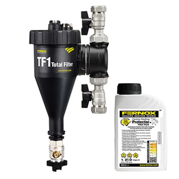 """Filtr na vodu pro vytápění Total filter TF1 3/4""""+kapalina F1 Filter Fluid FERNOX"""