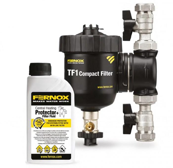 """Filtr na vodu pro vytápění TF1 Compact 1""""+kapalina F1 Filter Fluid FERNOX"""